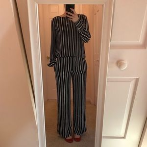 Ann Taylor blue and white stripe matching set